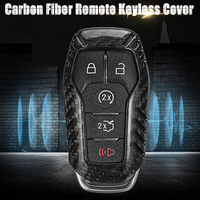 5 Button Carbon Fiber Car Remote Key Keyless Smart Key Cover Case For Ford for Mustang