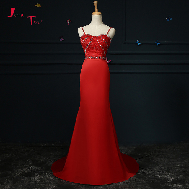 Jark Tozr 2019 Real Photos Formal Gowns Long Beading Crystal Buttons Bow Red Satin Mermaid Evening Dresses Vestido De Festa