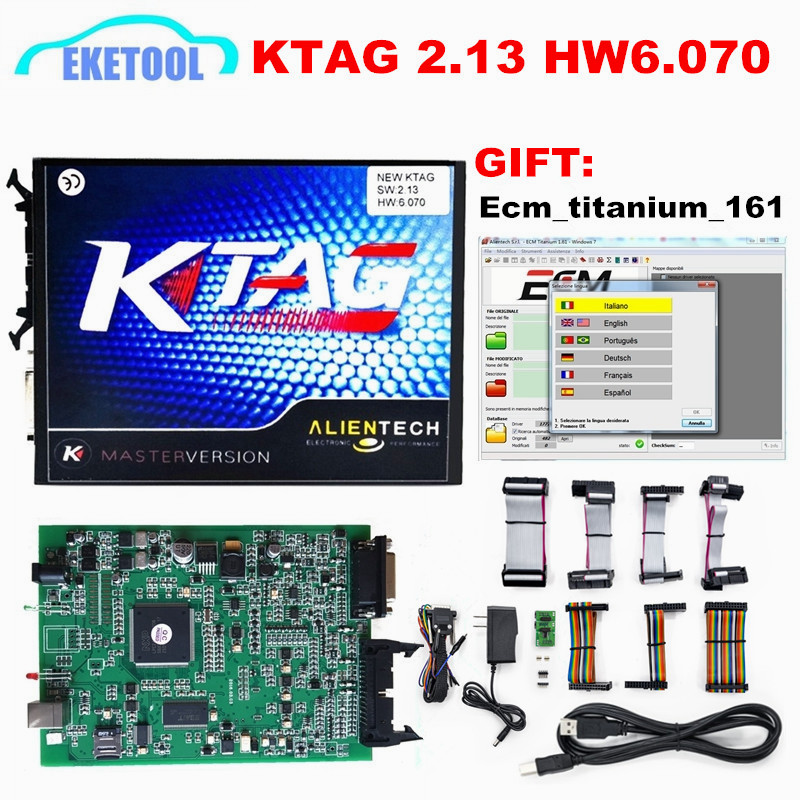 Prix pour 2017 Nouveau KTAG V2.13 Matériel V6.070 ECU Programmation Scanner Maître Version Non Jetons Limitée K TAG 100% J-Tag Compatible K-TAG