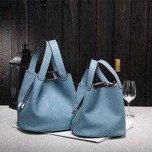 2017 Nuevos bolsos de Las Mujeres famosas marcas de alta calidad de las señoras bolsos de cuero Genuinos diseñador de la marca de bloqueo bolsas de compras bolsa de cubo