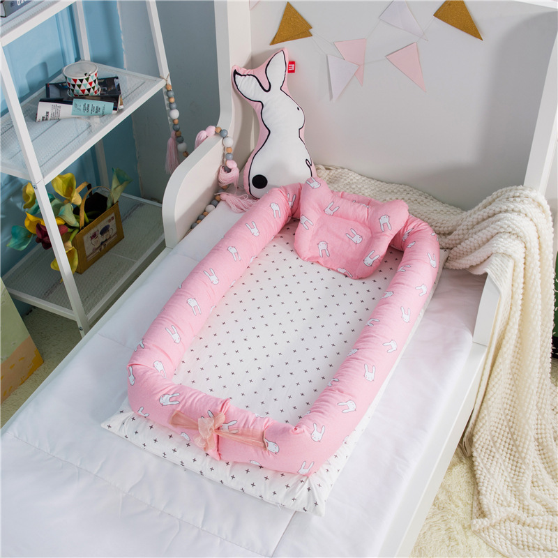 Baby Crib Sets With Pillow Pure Cotton Baby Nest Travel Crib Bed Cradle Cots For Newborns Portable WashableBaby Crib Sets With Pillow Pure Cotton Baby Nest Travel Crib Bed Cradle Cots For Newborns Portable Washable