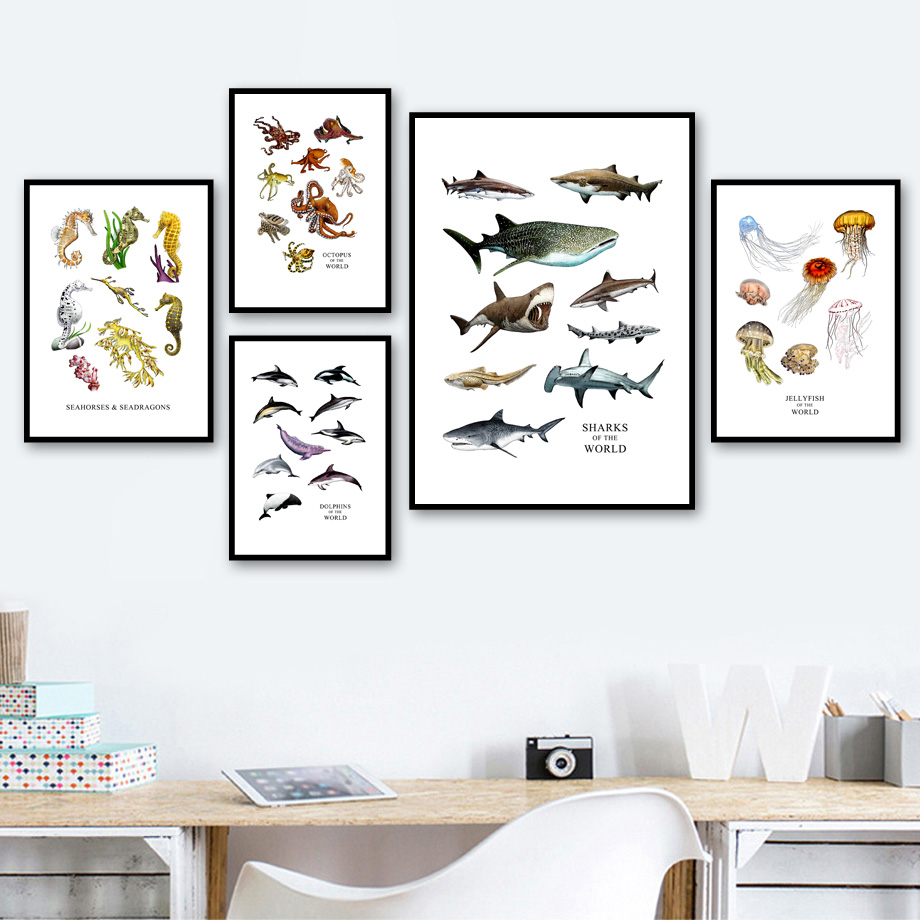 Shark Dolphin Octopus Seahorse Wall Art Canvas Painting Marine Life Nordic Posters And Prints Wall Pictures Baby Kids Room Decor