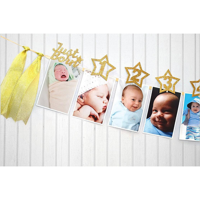 12pcsset 12 Months Photo Banner Baby Girl Boy First Birthday Party