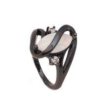 Грушевидные кубического опал циркония циркон черное обручальное сша роскошные розовый кольцо