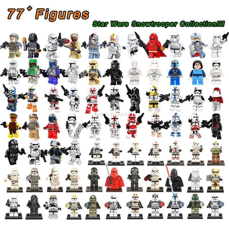 70 + คลาสสิก Legoelys Star Wars Snowtrooper Building Block Darth Vader Count Dooku Battle Droid Bounty Hunter ของเล่นตัวเลข