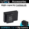 Accesorios GoPro GoPro batería 3400 mAh ABPAK 304 ABPAK-304 clip de baterías para GoPro HD HERO3 + / 3 batería de reserva envío gratis