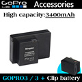 Gopro Accessories Gopro Battery 3400mAh ABPAK 304 ABPAK-304 clip Batteries for GoPro HD HERO3+/3 Backup Battery Free shipping