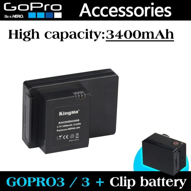 Gopro аксессуары GoPro аккумулятор 3400 мАч ABPAK 304 ABPAK-304 клип аккумулятор для GoPro HD HERO3 + / 3 резервный аккумулятор