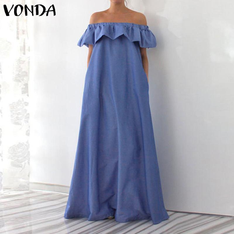VONDA Summer Sleeveless Bohemian Maternity Dress 2019 Sexy Off The Shoulder Ruffle Maxi Pregnancy Dress Floor-Length Vestidos