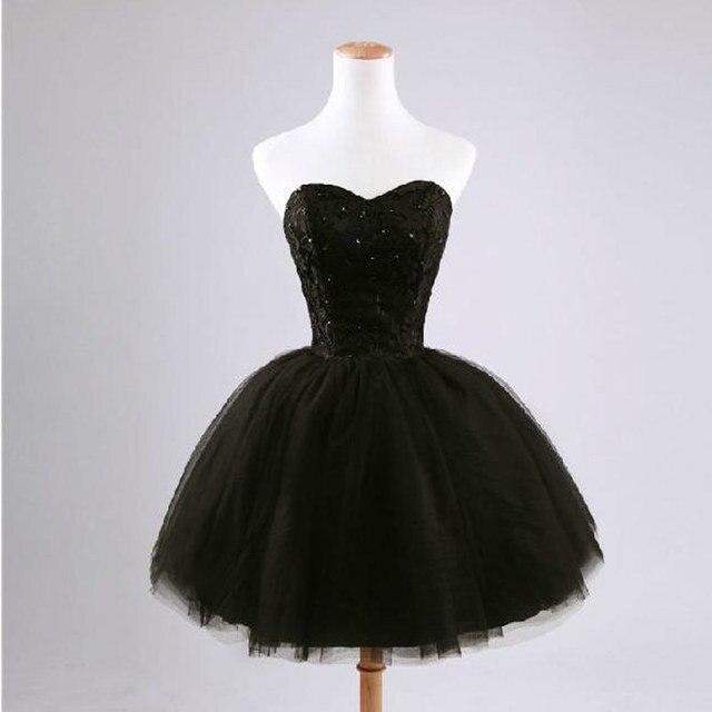 New arrival elegant women short prom dress black lace up princess sweetheart beading fashion women black prom dress 4