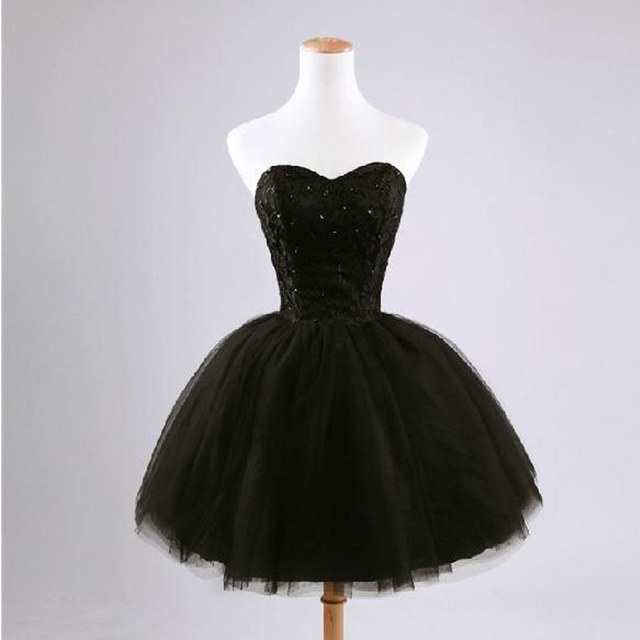 Elegant short black lace up princess sweetheart beading dress