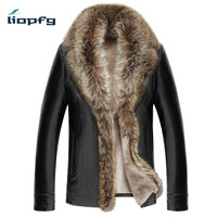 LIOPFG Brand Aen Winter Leather 2017 New Large Size Sheep Skin Men Fur One Fur Men' Long Section Thick Leather Jacket LZ541