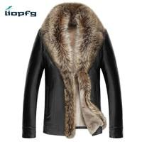 LIOPFG Brand Aen Winter Leather 2017 New Large Size Sheep Skin Men Fur One Fur Men