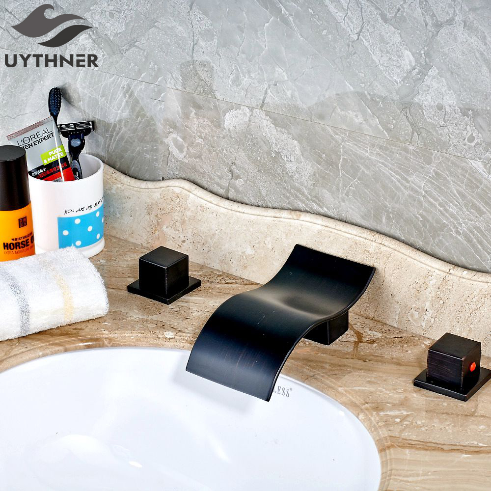 Uythner Contemporary Vanity Waterfall Spout Oil Rubbed Bronze Bathroom Sink Faucet Mixer Tap Basin Faucet цена 2017