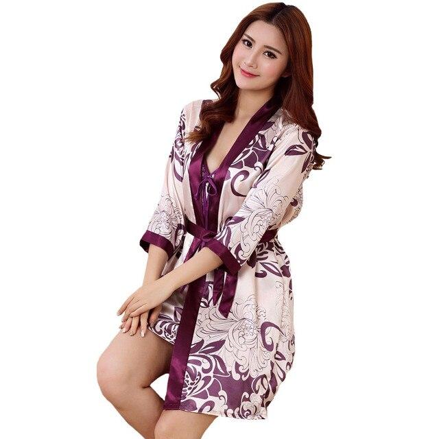 c8416b76ce Sexy Print Female Robe Set 2 Pcs Satin Rayon Bathrobe Women Kimono Bath Gown  Casual Sleepwear Nightwear Bridesmaid Robes Suit