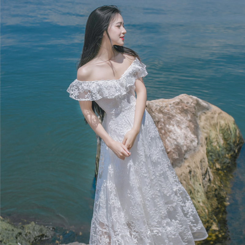 2019 Elegant Summer Sexy Off the Shoulder Sleeveless Strapless Dress Women Floral White Lace Dress Beach Party Vestido De Festa-in Dresses from Women's Clothing    1