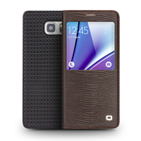 QIALINO Real Leather Smart Phone Case for Samsung Galaxy Note 5 Genuine Leather cover for Note5 View window design