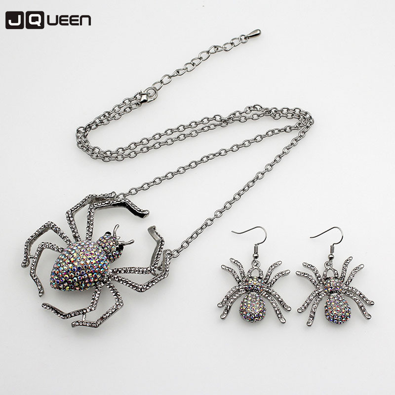2017 New Rhinestone Vintage Gothic Punk Ear Stud Earring Necklace Spider Ring Shiny Crystal Necklace For Party Halloween Gift