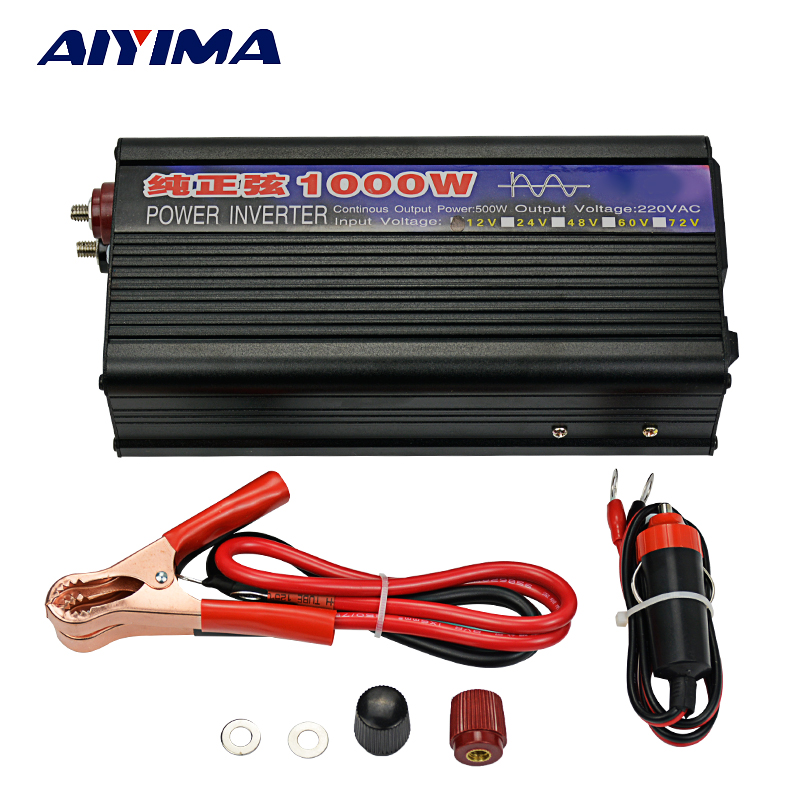 Aiyima 1Pc Invertor DC12V To AC220V 1000W Pure Sine Wave Power Inverter
