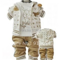 Free shipping Sale 2014 spring autumn kids clothing sets baby boy and girl sport suit children sportswear letter dog 3pcs set