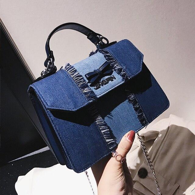 22e4a799f7a3 Luxury Designer Jeans Small Bags Women Denim Chain Crossbody Bags for Women  2018 Women s Handbags Shoulder Bags Messenger Female