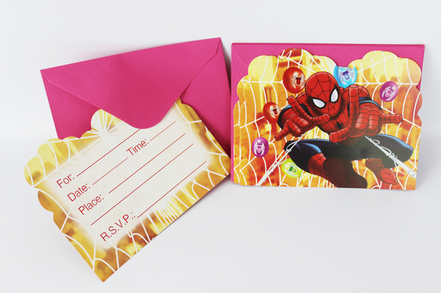 Free Shipping 60pcs Lot Spider Man Theme Children Birthday Party Invitation Card