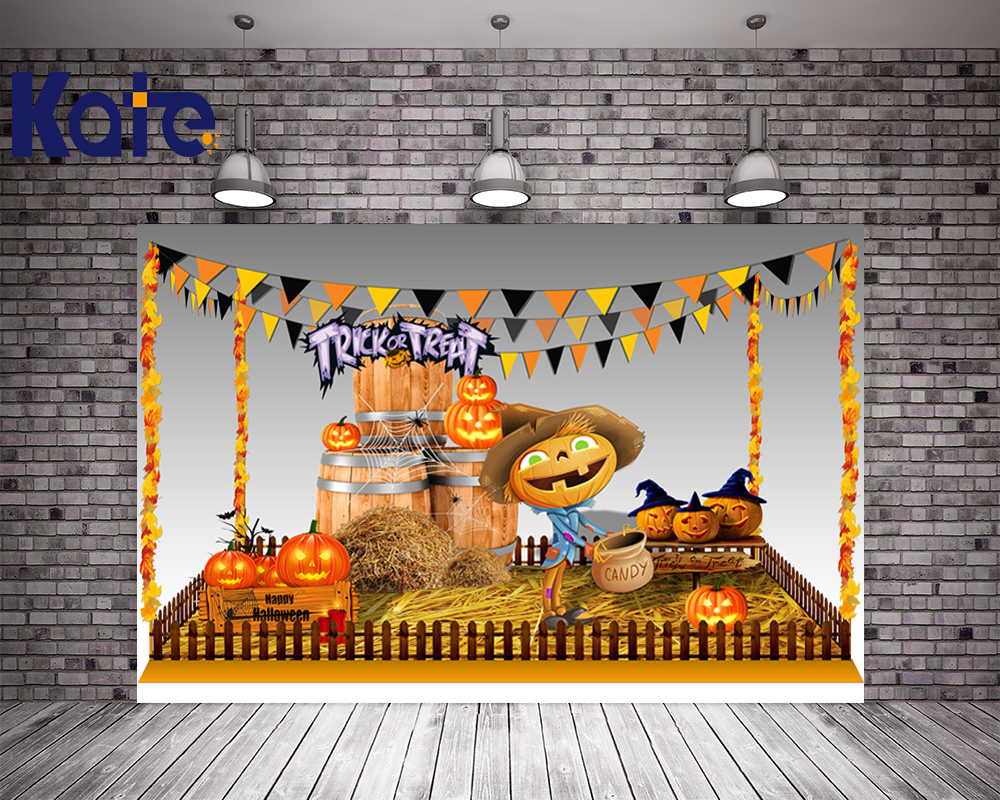 Photo Background Halloween Photography Backdrops Harvest Season Pumpkin Man Kate Background Backdrop harvest hunting