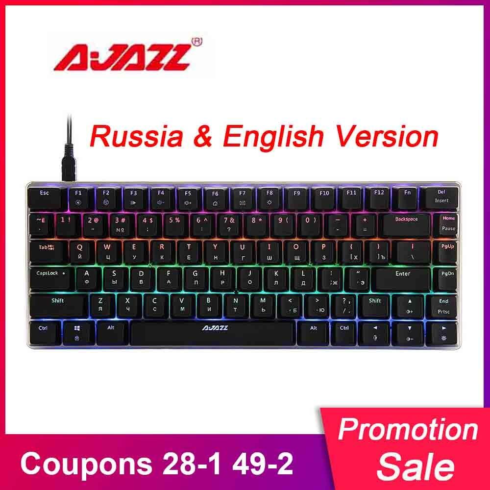 AJAZZ AK33 Russia English Version Mechanical Keyboard Russian RGB USB Wired Gaming Keyboard LED Colorful 82