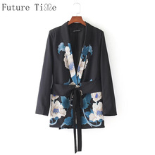 Future Time Japan Style Women Blazer Lace Up Bandage Jackets Vintage Long Sleeve Turn Down Collar Coats Flower Print Coats WT141