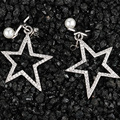 2016 New Arrivals Fashion 925 Sterling Silver Star Stud Earrings With Rhinestone Pearl Stud Earrings For Women Jewelry Brincos