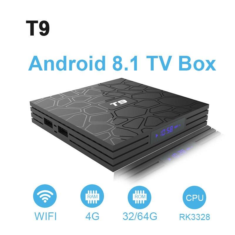 TV Box T9 Android 8.1 Bluetooth Rockchip RK3328 4 GB RAM 32 GB/64 GB 4 K Google Player supporte 2.4 GHz WiFi HD 4 K décodeur intelligent - 3