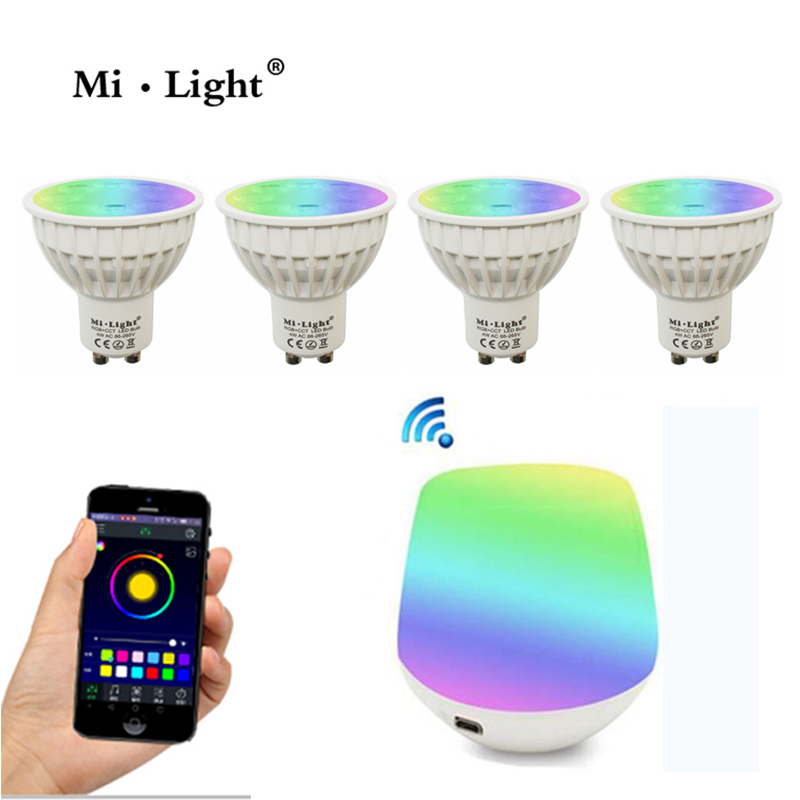 Milight Dimmable 2.4G Wireless Milight Led Bulb 4W GU10 RGB+CCT Led Spotlight  AC86-265V+ Wifi control by smartphone dc12v 2 4g wireless milight dimmable led bulb 4w mr16 rgb cct led spotlight smart led lamp home decoration