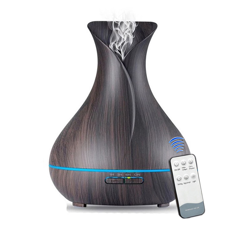 400ML Essential Oil Diffuser Aromatherapy Diffuser With Remote Control Wood Grain 7 Color LED Lights For Home Aroma Humidifier brand new portable led lights wood grain expansion machine negative ion oil diffuser humidifier aromatherapy machine for home