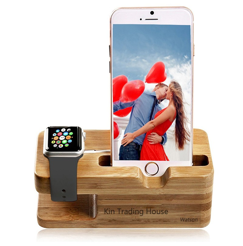 Bamboo Wood Stand Holder Station for Apple Watch iPhone 5s 6 7 X Dock 16