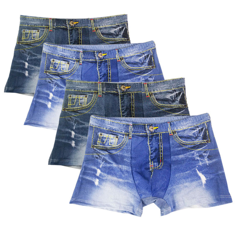 XC LOHAS 4 Pcs/lot Men's Boxers Shorts Denim Jeans Sexy Underwear Casual 3D Cotton