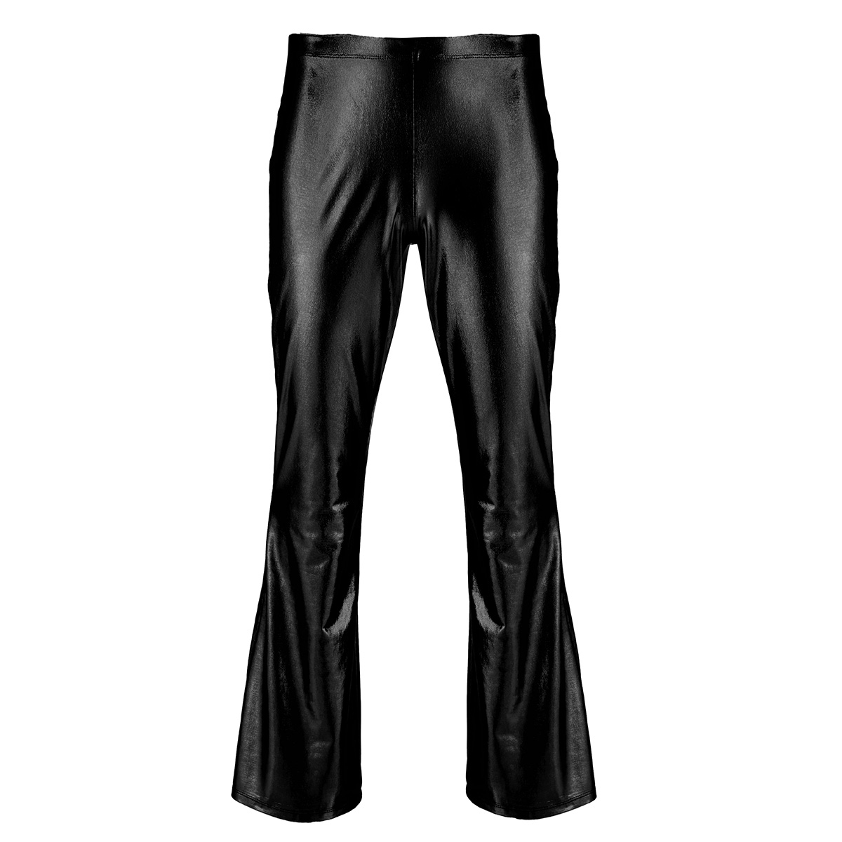 Adult Mens Moto Punk Style Party Pants Shiny Metallic Disco Pants with Bell Bottom Flared Long Pants Dude Costume Trousers 14