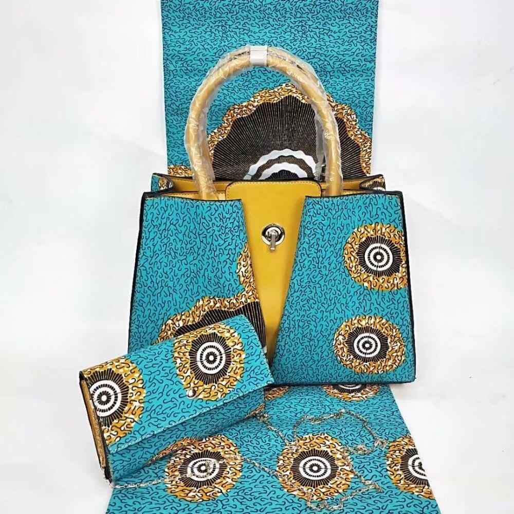 African Wax Prints Fabric African Fabric With 2pcs Women Handbag 100% Cotton Fabric Ankara Fabric African Real Wax Print TN-A98
