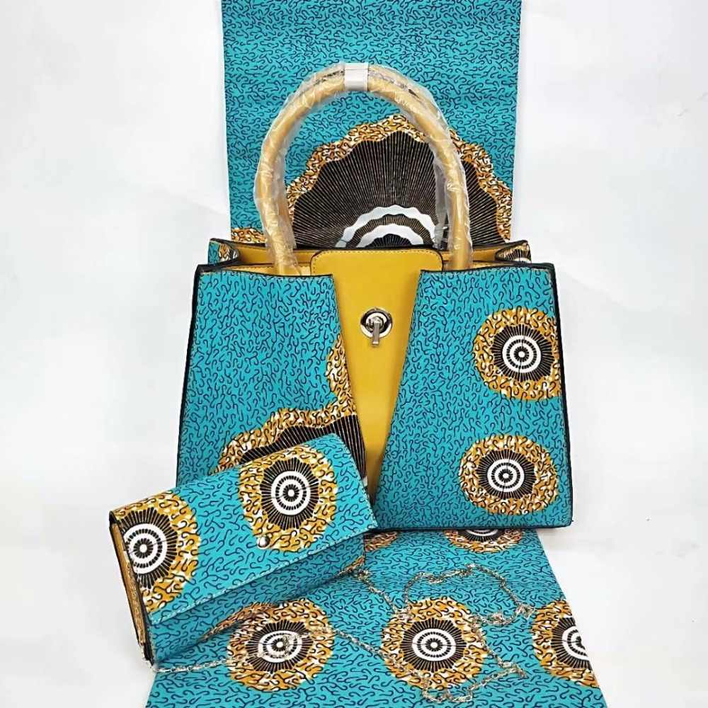 African wax prints fabric african fabric with 2pcs women handbag 100% cotton fabric ankara fabric african real wax print TN-A98