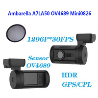 Free Shipping Mini 0826 Dash Car Camera DVR FHD 1296P Ambarella A7LA50 GPS With 8GB TF