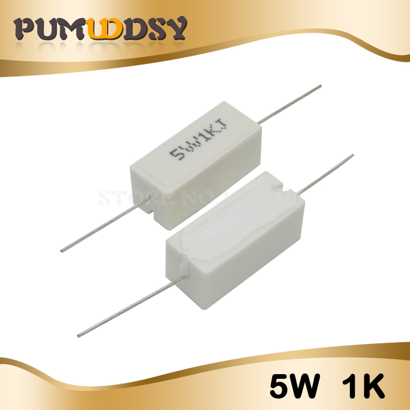 10pcs 5W Cement Resistance 0.1 ~ 10k Ohm 5% 0.22 0.33 0.5 1 10 100 1K 10K Ohm 0.1R 0.22R 0.33R 0.5R 1R 10R 100R