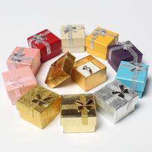 Высококлассный шкатулка для драгоценностей Кольцо Подарочная коробка смешанный цвет Размер 4*4 см 100 шт./лот смешанные цвета