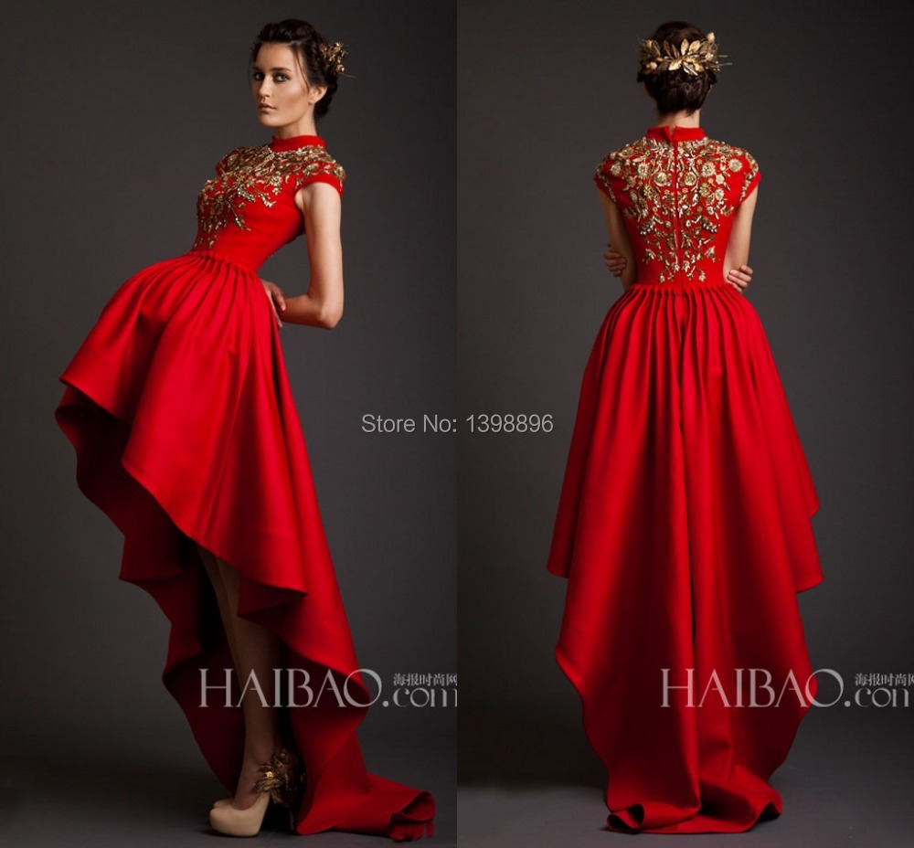 Charming hot red high neck gold appliques hi lo bridal for Middle eastern wedding dresses