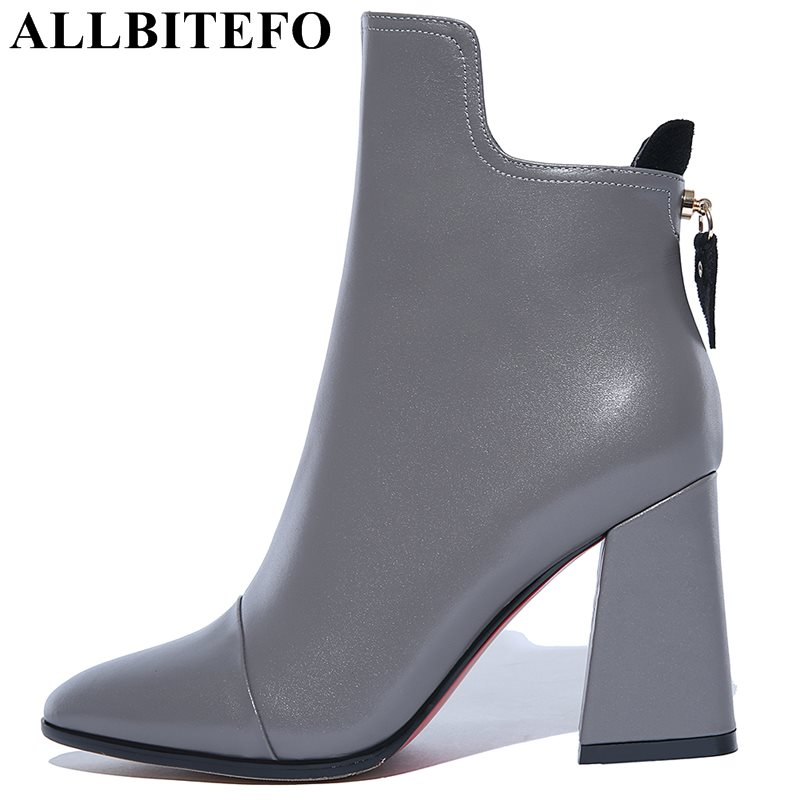 ALLBITEFO large size:34-43 genuine leather pointed toe thick heel women boots fashion high heels martin boots winter boots  allbitefo size 33 43 high quality genuine leather gradient color short women boots pointed toe chains thick heel martin boots