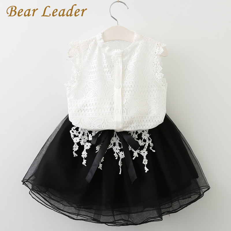 Bear Leader Girls Dress 2018 Casual Summer Style Girls Clothes Sleeveless White Lace T-shirt+Girls Dress 2Pcs for Kids Clothes bear leader girls dress 2017 new summer style printing girls clothes sleeveless rose floral design for girls princess dress 3 8y