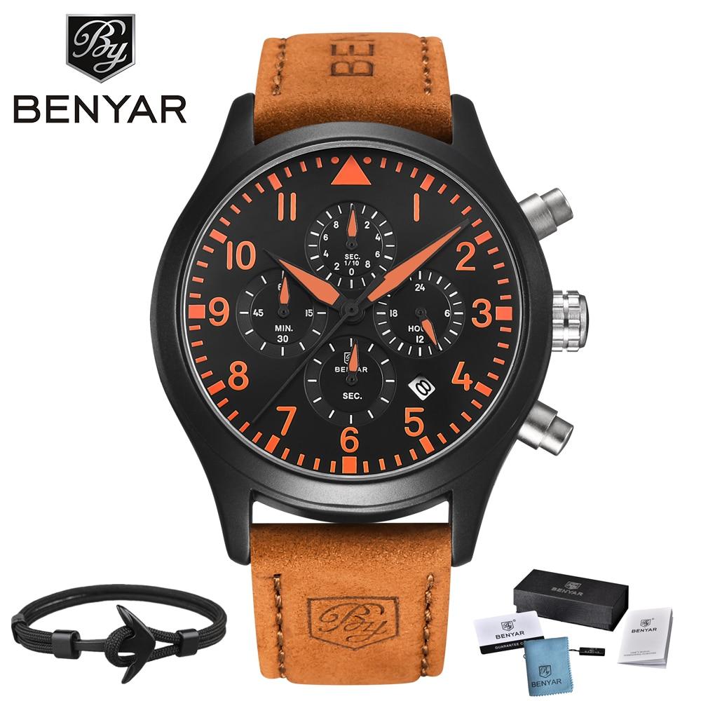 BENYAR Leder Mode Chronograph Wasserdichte Sport Uhr Pilot serie Luxus Marke Datum Multifunktions Männer Quarzuhr Uhr