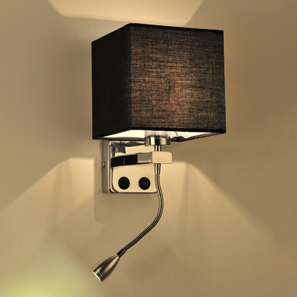 Retro Modern Reading Creative Fabric Hotel Living Room Bedroom Aisle Balcony LED Bedside Lamp with Switch Wall Lamp