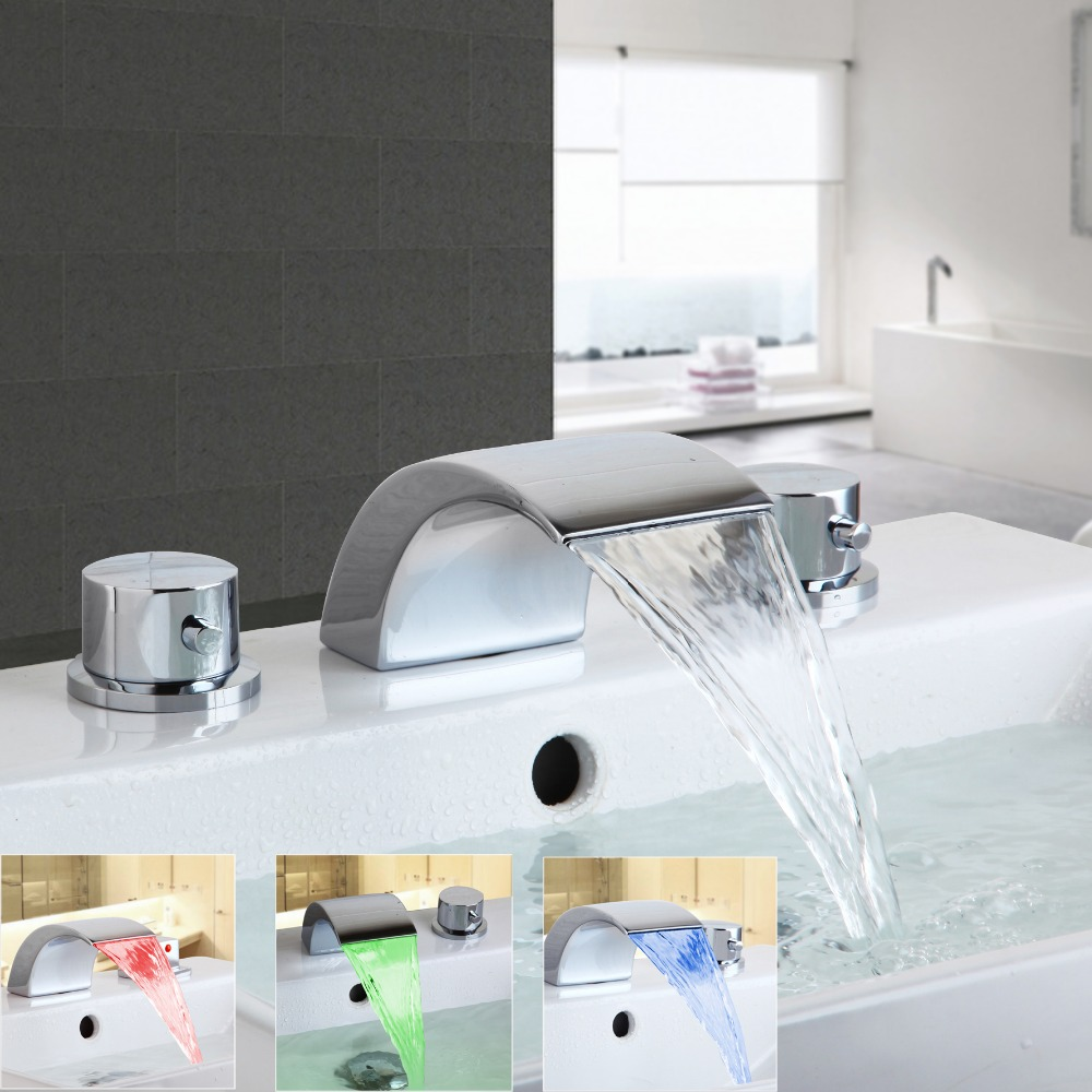LED Bathroom Basin Sink Faucet Waterfall Water Flow Lavatory Mixer Faucet Tap Bathroom Deck Mounted Basin Sink Faucet new bathroom wash basin sink faucet waterfall flow lavatory hot cold washing tap tree629