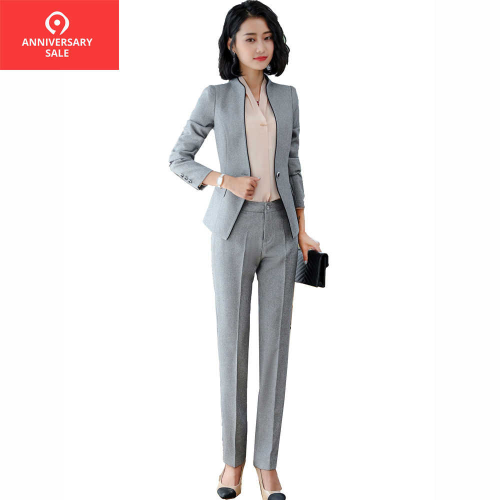 f9a2f057f1a13 Bettolvis 2019 Spring Autumn female elegant pant suits Women set work wear  long sleeve blazer with