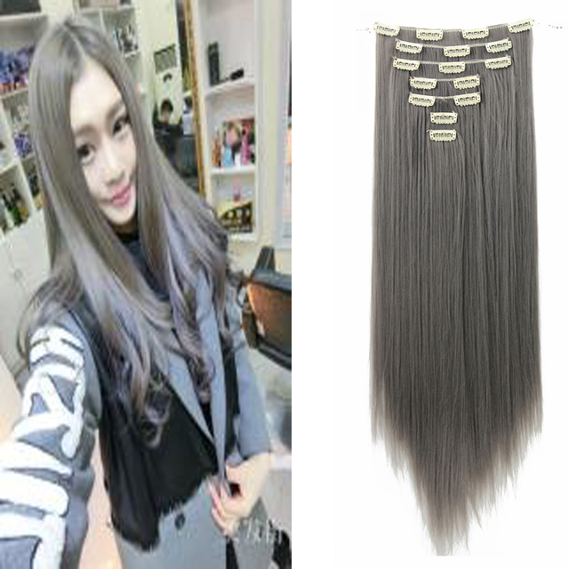 22 55cm Synthetic Full Head Clip In Hair Extension Straight Silver