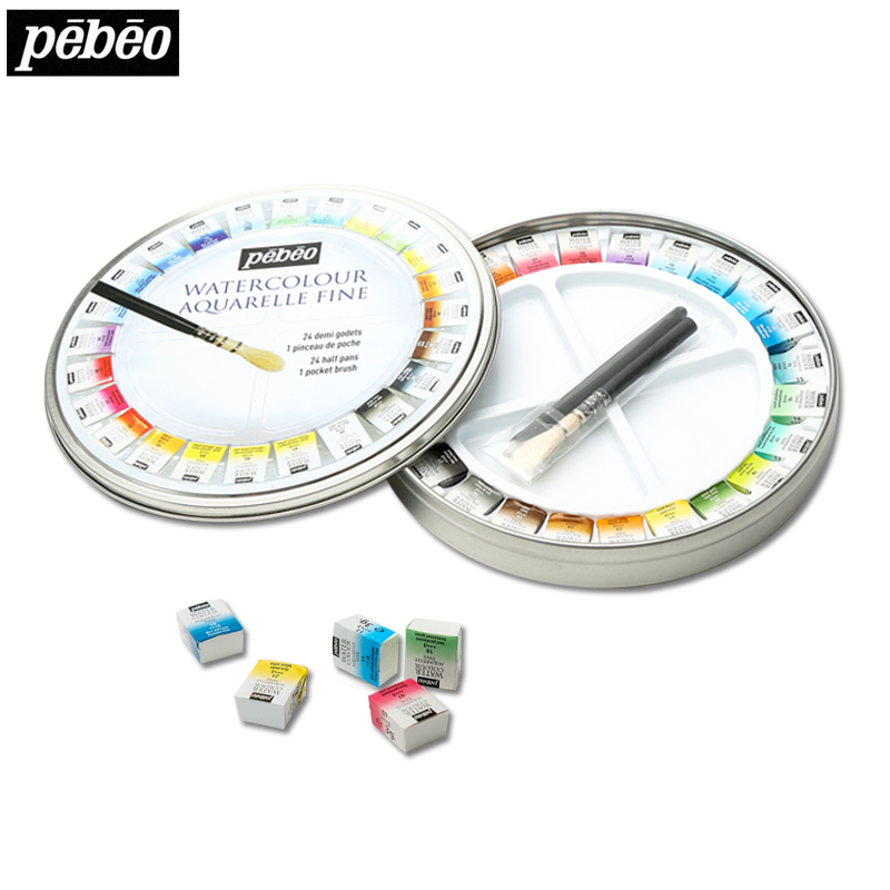 Pebeo 12/24colors Solid Water Color Paints Artist Watercolor Pigment Round Tin Box Solid Watercolor Painting Set Art Supplies купить